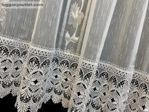 Csipkés kész függöny Tulipán  (fehèr 30 cm csipke )fehér ezüst szürke színű 300 cm szeles 175 cm magas