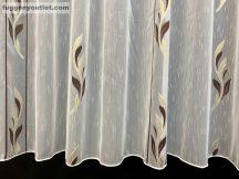 Készre vartt celen függöny 300cm szeles 180cm magas Lennes voile fehér alapon barna arany színű