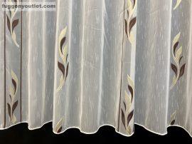 Készre vartt celen függöny 300cm szeles 260cm magas Lennes voile fehér alapon barna arany színű