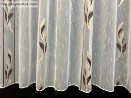 Készre vartt celen függöny 300cm szeles 210cm magas Lennes voile fehér alapon barna arany színű