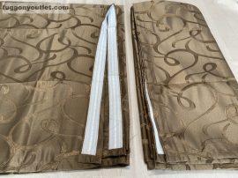 kész sötétítő függöny indás selyem  barna színű ( 2 darab =140 cm szeles 260 cm magas )