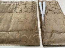 Kész  sötétítő függöny indaslevel  selyem  barna színű ( 2 darab =140 cm szeles 180 cm magas ) selyem  barna színű