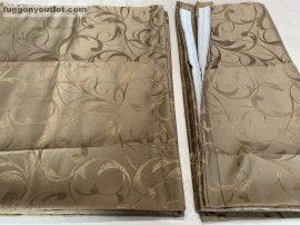Kész sötétítő függöny  indáslevél selyem  barna színű ( 2 darab =140 cm szeles 260 cm magas )