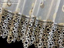Csipkes kesz függöny (30 cm feher barna csipke)lennes voal fehèr alapon barna színű 400 cm szeles 140 cm magas