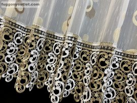 Csipkes kesz függöny (30 cm feher barna csipke)lennes voal fehèr alapon barna színű 300 cm szeles 135 cm magas