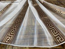 Készre vartt függöny 500cm szeles 160cm magas Lenn voile görögmintas fehér barna színű