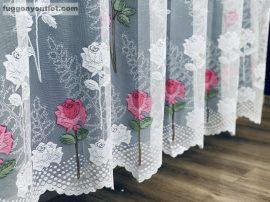 Készre vartt függöny 300cm szeles 250cm magas rózsaszál fehér alapon rozsa színű