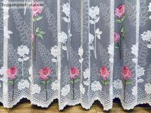 Készre vartt függöny 400cm szeles 250cm magas rózsaszál fehér alapon rozsa színű