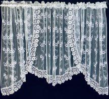 Csipkes kesz függöny panaromas (8 cm fehér csipke) fehèr színű 400 cm szeles 155 cm magas