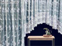 Erkélyajtóhoz Csipkes kesz függöny  (30 cm fehér csipke) himzet fehèr színű 2 darabos függöny(1.panaromas 400 cm szeles 150 cm magas)(2.függöny 150 cm szeles 250 cm magas)