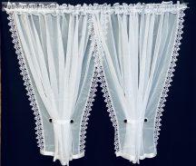 Csipkes kesz függöny elkötös (10 cm fehér csipke) fehèr színű 400 cm szeles 155 cm magas