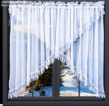 Csipkes kesz függöny panaromas (15 cm fehér csipke)voal fehèr színű 400 cm szeles 155 cm magas