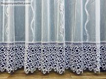 Csipkés kész függöny Leveles (fehèr 30 cm csipke )fehér ezüst szürke színű 300 cm szeles 180 cm magas
