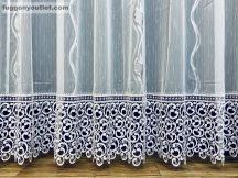 Csipkés kész függöny Leveles (fehèr 30 cm csipke )fehér ezüst szürke színű 300 cm szeles 175 cm magas