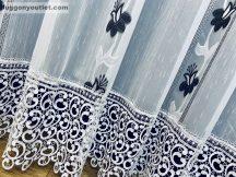 Csipkés kész függöny Harangvirag (fehèr 30 cm csipke )fehér alapon fekete színű 300 cm szeles 250 cm magas