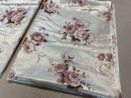 kész  sötétítő függöny rózsa  selyem tört fehér alapon mályva  színű ( 2 darab =140 cm szeles 180 cm magas )216041538