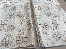 Kész sötétítő függöny rozsa  selyem tört fehér alapon mentazöld barna színű ( 2 darab =140 cm szeles 260 cm magas )