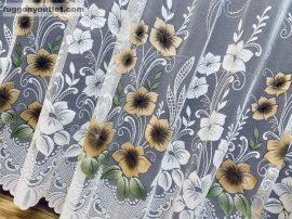 Készre vartt függöny pipacs virág fehér alapon  barna színű 500cm szeles 250cm magas