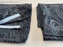 Kész sötétítő függöny árnyék inda selyem fekete színű ( 2 darab =140 cm szeles 260 cm magas )