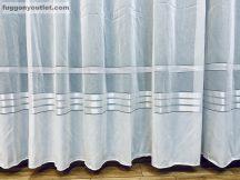 függöny készre vart (Fenyes csikos) Fehér alapon fehér színű 300cm szeles 260cm magas