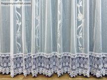 Csipkés kész függöny Leveles (fehèr 30 cm csipke )fehér alapon szürke színű 300 cm szeles 175 cm magas