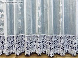 Csipkés kész függöny harangvirág (fehèr 30 cm csipke )fehér alapon szürke színű 300 cm szeles 175 cm magas