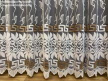 Függöny készre vart görögmintas fehéralapon barna színű 500 cm szeles 250 cm magas