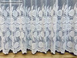 Készre vart függöny forgovirag fehér színű 300 cm szeles 250 cm magas