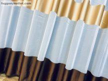függöny készre vart (Barna arany krem) Fehér alapon barna arany krem színű 300cm szeles 260cm magas