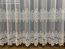 Csipkés függöny méterben papatya tört fehér színű 280 magas (kétsoros csipkes)
