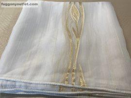 függöny készre vart ( 5039arany3) Fehér alapon arany szinü voal 300cm szeles 260cm magas