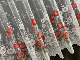függöny Készre vartt pipacs virág fehér alapon piros színű 300cm szeles 180cm magas
