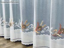 Függöny készre vart buzavirag fehér barna színű 400 cm szeles 160 cm magas