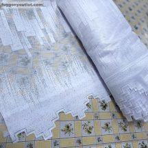 Vitrázsfüggöny parkettas fehér színű 120 cm magas